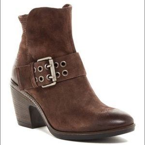 Miz Mooz Bubbles Brown Leather Buckle Ankle Bootie